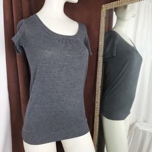 Gray scoop neck pull over sweater